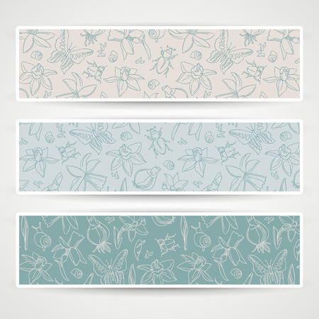 Romantic flowers banner set vector illustration. Illustration