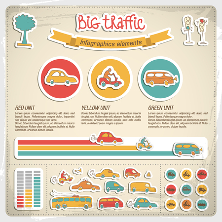 Big traffic infographics vector illustration.