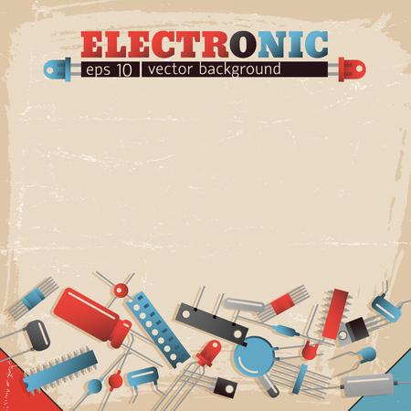 Electronic vector illustration on pink background. Illustration