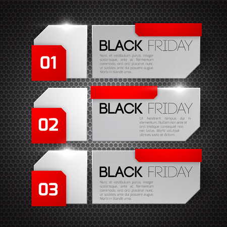Black friday sale banners on black background.