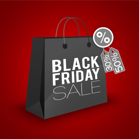 Black friday sale on red background.