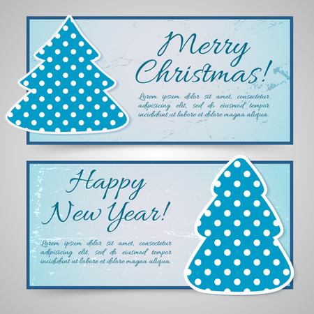 Happy New Year And Merry Christmas Banners Illustration