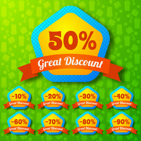 percent sign: Great discount design concept set of colored pentagonal stickers with different percents and ribbons flat vector illustration