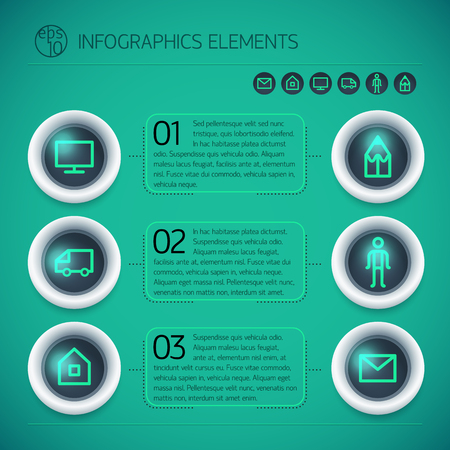Geometric business options infographics with circles text frames glowing icons on green background isolated vector illustration