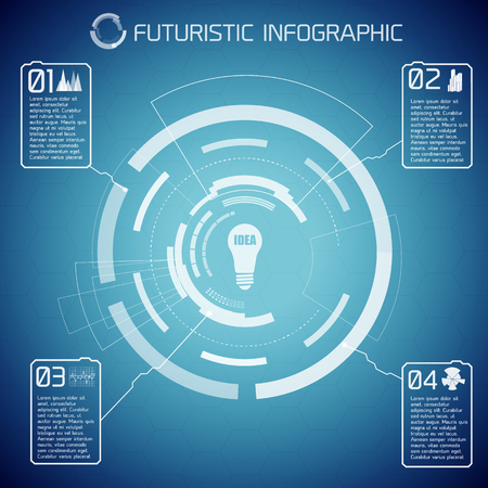 Futuristic abstract infographics with virtual user interface bulb text and four options on blue background vector illustration 向量圖像