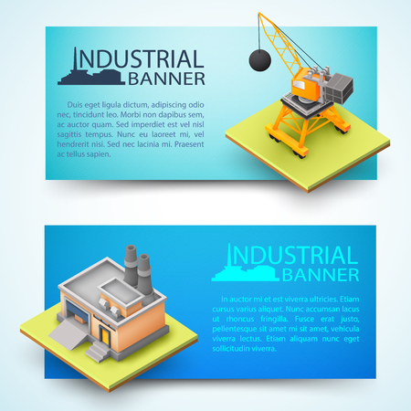 Construction vehicle and building of factory horizontal 3d banners.