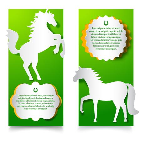 馬をジャンプすると緑の垂直バナー。