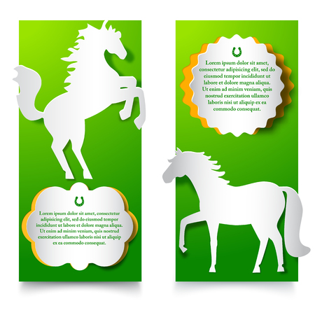 Green Vertical Banners With Jumping Horse. Illustration