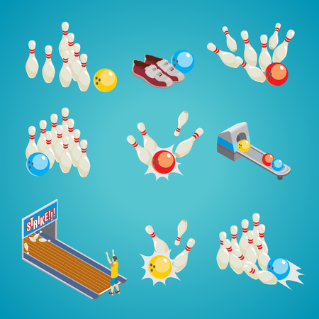 Isometric Bowling Game Elements Collection Illustration
