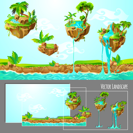 Isometric Game design with Tropical Nature Landscape Template