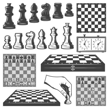 빈티지 체스 게임 요소 세트