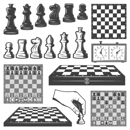 Vintage Chess Game Elements Set Иллюстрация