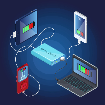 Isometric Power Bank Charger Concept vector