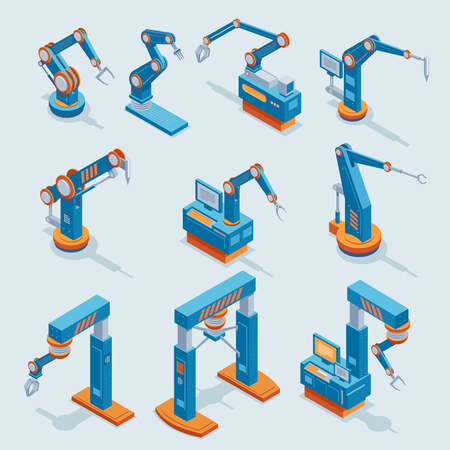Isometric Industrial Factory Automation Elements Set