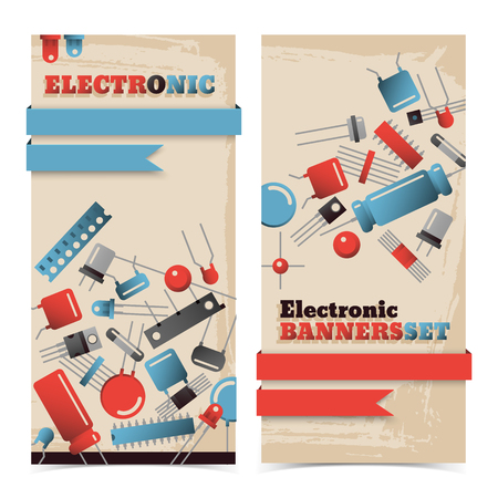 Vertical isolated flat industrial textured banners set with blue and red ribbons and transistors vector illustration
