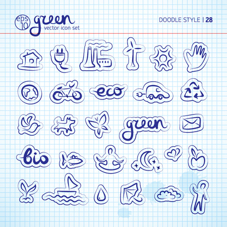 Ecology and eco power doodle icons set on squared background vector Illustration Stock Vector - 88197837