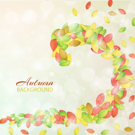 Nature autumn abstract background with colorful leaves bokeh and light effects flat vector illustration