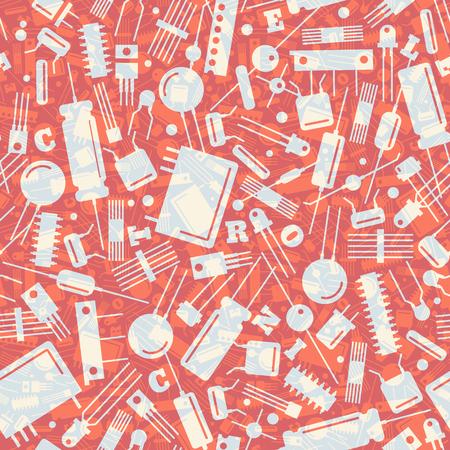 Industrial seamless pattern with transparent electronic transistors on red background flat vector illustration Illusztráció