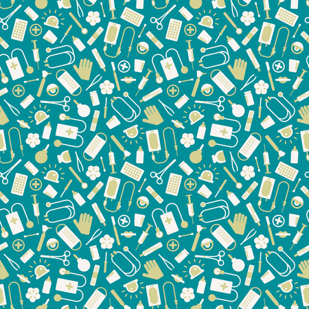 Medical seamless pattern with colorful instruments and tools on blue background flat vector illustration