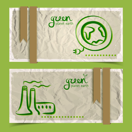 Horizontal abstract eco banners set with doodle drawings on crumpled paper with white frames and brown ribbons.