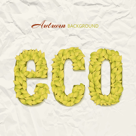Autumn theme design on wrinkled paper background with eco letters made with yellow leaves vector illustration