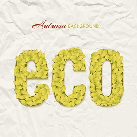 Het ontwerp van het de herfstthema op gerimpelde document achtergrond met ecoletters maakte met gele bladeren vectorillustratie