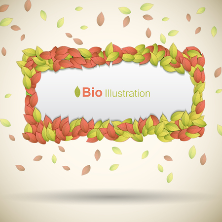 Nature abstract eco background with colorful leaves frame flat vector illustration Çizim