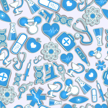 White and blue seamless pattern of various medical and chemical instruments and signs flat vector illustration