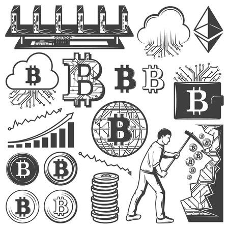 Vintage Bitcoin valuta elementen collectie
