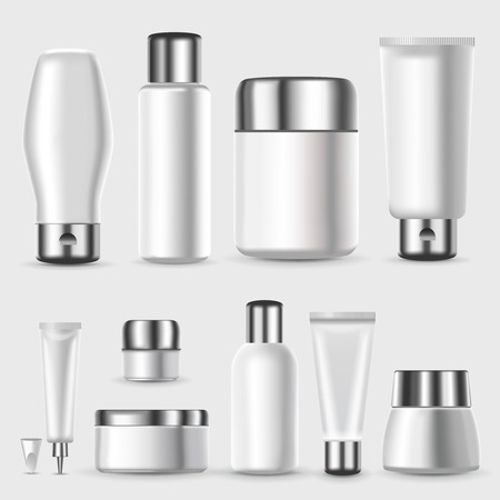 Realistic Blank Cosmetic Packages Set