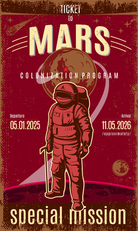 Vintage Colored Mars Discovery Poster