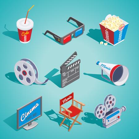 Isometric cinema elements set on blue background.