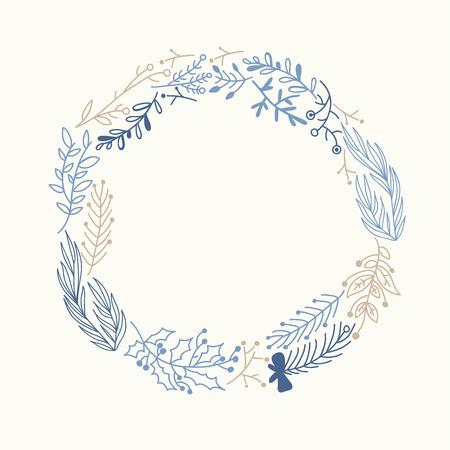 Blue And Beige Foliate Wreath Doodle Çizim