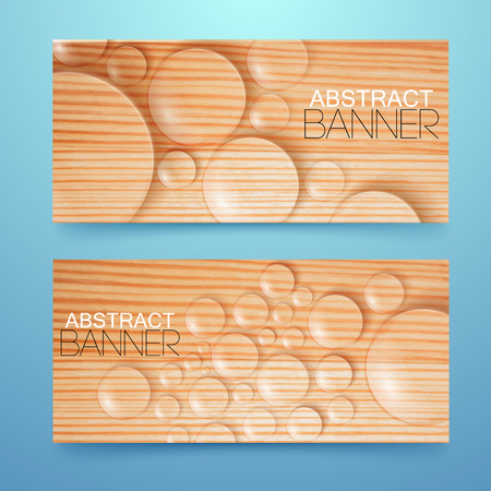 condensation: Water drops and bubbles banners set. Illustration