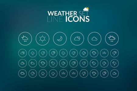 Linear Weather Icons Set Illustration