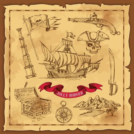 Pirate Elements Hand Drawn Concept
