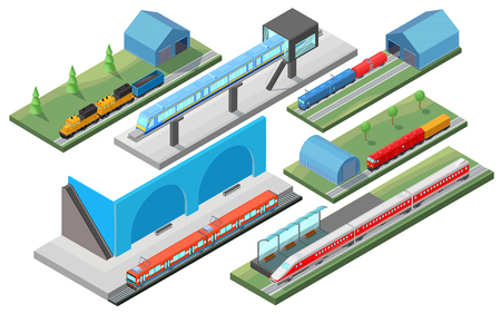 Isometric Railway Transport Concept Illustration