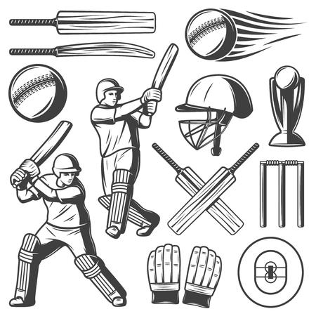 Collection d'éléments Vintage Cricket Banque d'images - 89791445