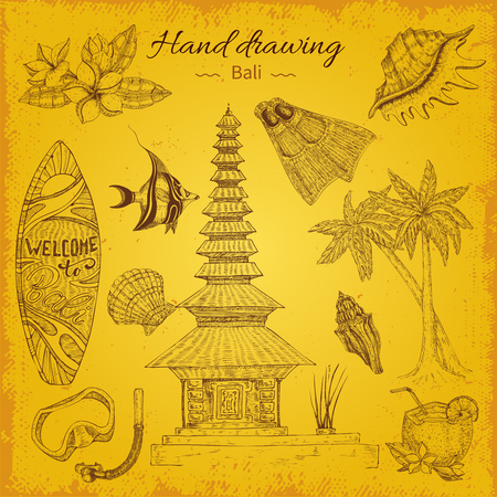 Hand Drawing Balinese Background Иллюстрация