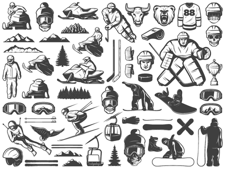 Vintage Winter Sport Games Icons Collection Illustration