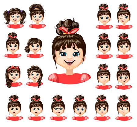 Cartoon Beautiful Girl Emotions Collection Illustration