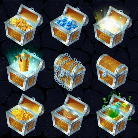 Isometric Treasure Chests Collection Vetores
