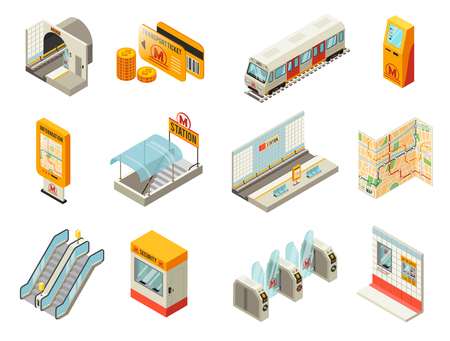 Isometric Metro Station Elements Set