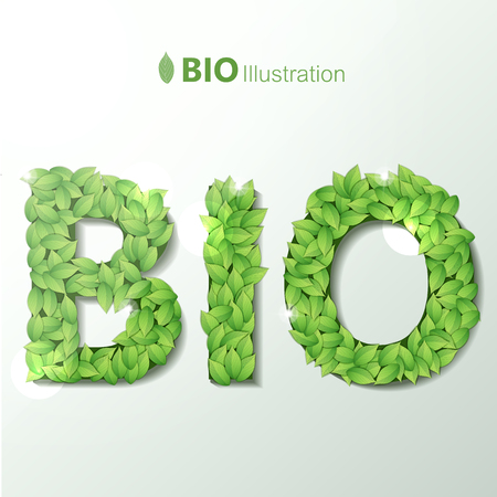 Bio Illustration With Green Leaves Font