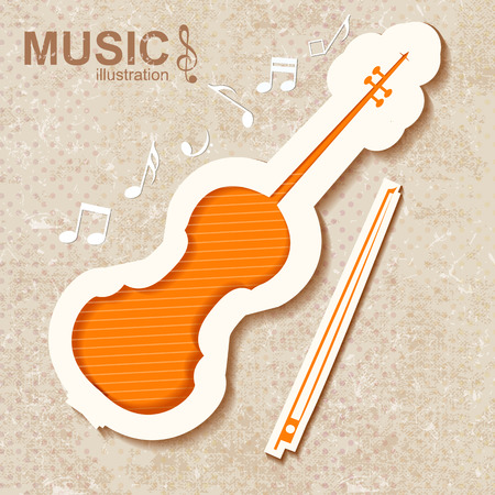 Bright orange striped violin bow and notes on textured music background flat vector illustration