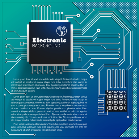 Electric board background with computer circuit vector Illustration. Illustration