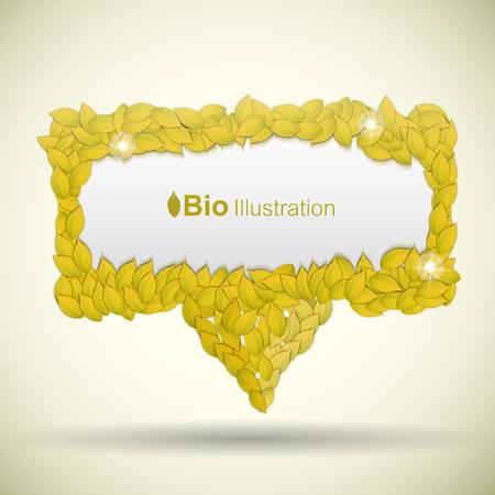 Fondo de eco abstracto de naturaleza con hojas doradas y efectos de luz ilustración vectorial plana Foto de archivo - 88858985