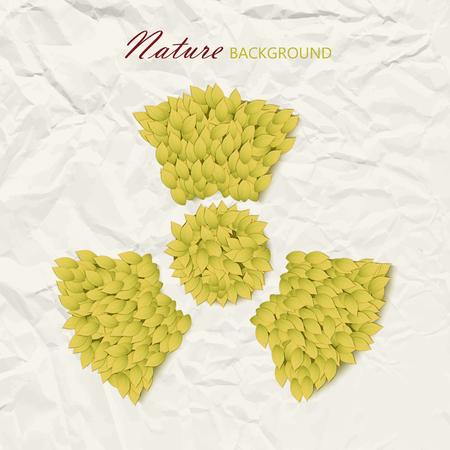 Aardachtergrond met biologische die gevaarsamenstelling van elementen door gele bladeren op gerimpelde document vectorillustratie worden gemaakt Stock Illustratie