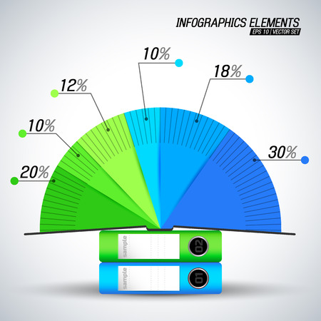 Bright blue and green color business infographics elements with pie diagram on two document folders on white background flat vector illustration