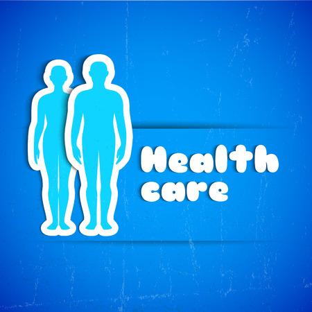Medisch en gezondheidszorgconcept met mannelijke en vrouwelijke silhouetten vectorillustratie